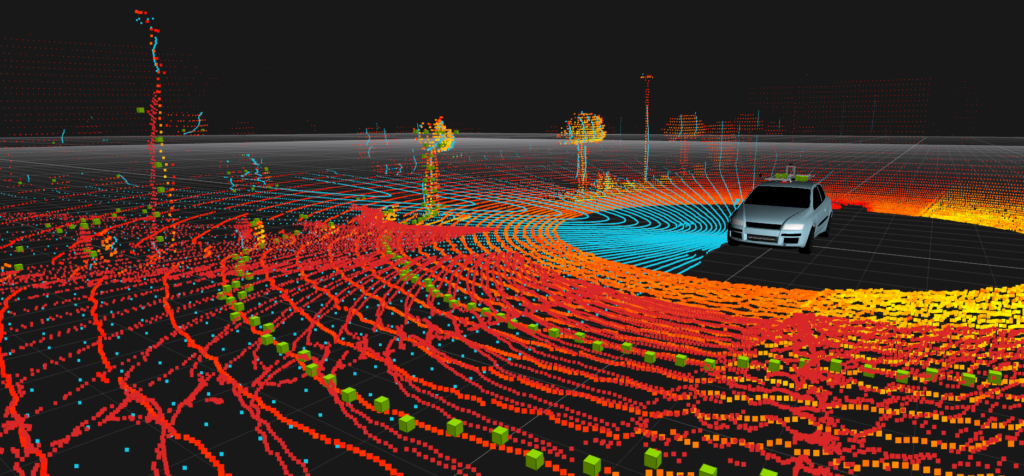 A point cloud based on the readings of the vehicle's environment using a set of lidars